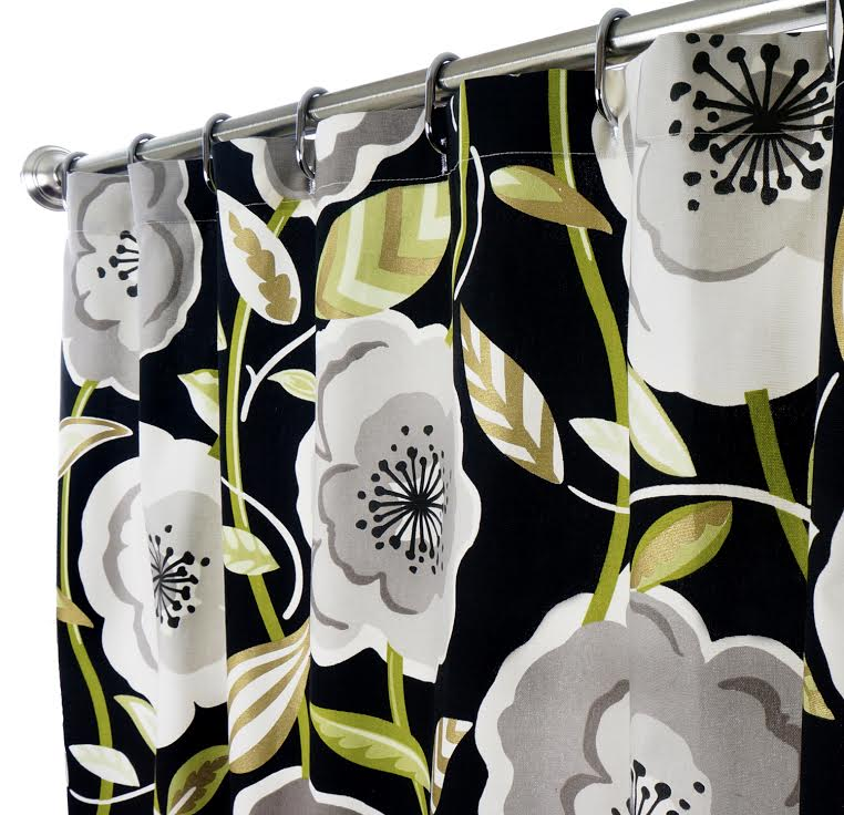 Fabric Shower Curtains Poppy Black Click To Enlarge