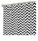 Fabric Shower Curtains Zig Zag Black