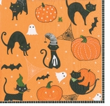 Halloween Napkins Cocktail Cats