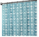 Nautical Shower Curtains Anchor Turquoise 96""