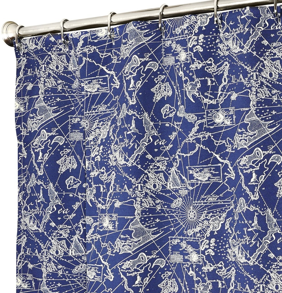 Nautical bathroom curtains - Nautical Shower Curtains Blue Map 84