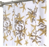 Nautical Shower Curtains Gold Starfish 84""