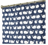 Nautical Shower Curtains Whale Blue 84""
