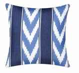 Outdoor Pillow Covers Blue Ikat