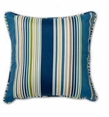 Outdoor Throw Pillows Blue Stripe without Insert