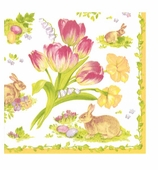 Paper Napkins Lunch Easter Bouquet Yellow