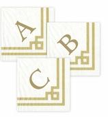 Personalized Cocktail Napkins Gold Border