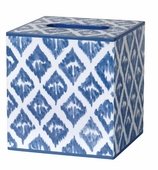 Tissue Box Cover Blue Ikat