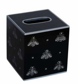 Tissue Box Cover Silver Bee