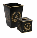 Bathroom Decor Trash Can Black Bee Set