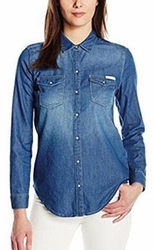 Calvin Klein Women's Denim Western Button Down shirt