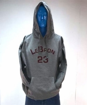 Lebron Charcoal Hooded Sweatshirt - Red Print