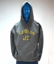 Lebron Charcoal Hooded Sweatshirt - Yellow Print