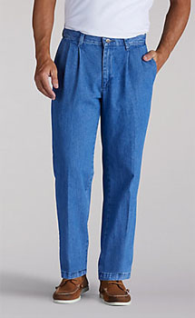 347649fa Lee Mens Stain Resistant Pleated Front pants - Stonewash-$24.98-Free ...