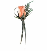 Peach Rose Boutonniere