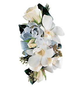 White Rose & Orchid Corsage