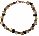 "Citrine, Onyx, Iolite and Gold ""Power"" Bracelet"