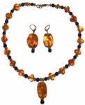 Crystal Weaver Golden Amber and Garnet Ensemble