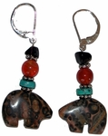 Leopard Jasper Bear Earrings