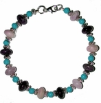 Sleeping Beauty Turquoise with Sugilite and Sterling Silver Bracelet