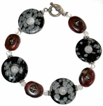 "Snowflake Obsidian, Moonstone, Poppy Jasper and Bali Sterling ""Power"" Bracelet"