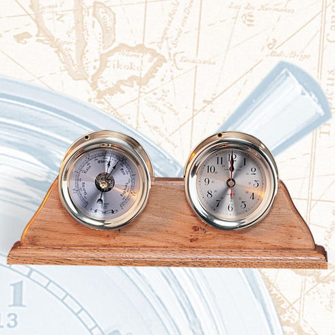 Pelican Bay Nautical Gifts TK-209 4.5 Inch Clock and Barometer on Base
