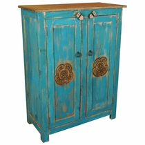 2 Door Rustic Turquoise Cabinet with Carved Doors