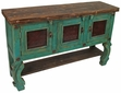 3 Door Painted Wood Buffet - Green with Natural Top