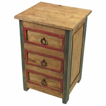 3 Drawer Painted Wood Nighstand