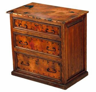 Rustic 3 Drawer Small Dresser With Copper