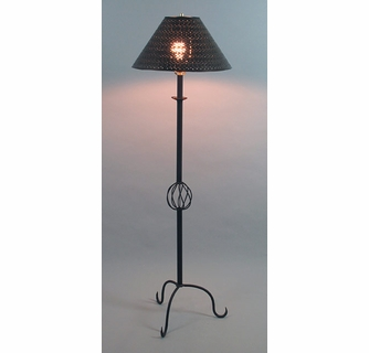 3 Leg Spiral Iron Floor Lamp With Punched Tin Shade