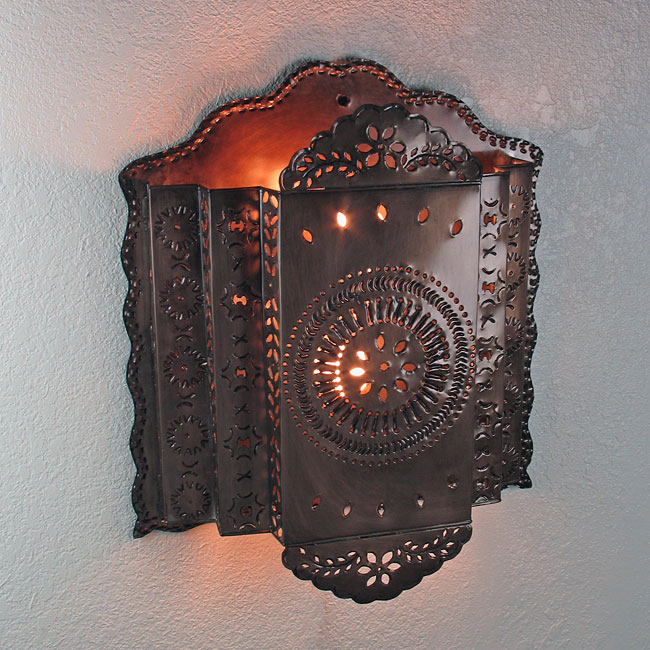 3 Tier Mexican Punched Tin Wall Sconce