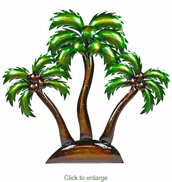 3D Metal Island Palm Trees Wall Art