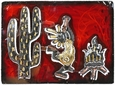 3D Metal Kokopelli with Desert Scene Wall Art