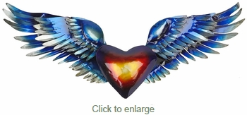 3D Metal Mexican Folk Art Heart & Wings Wall Art