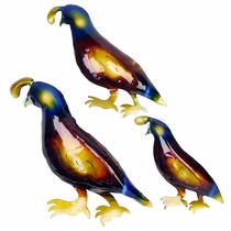 3D Metal Quail Southwest Wall Art - Set of Three