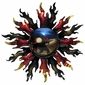 3D Metal Sun Wall Art - Fiery Sun with Cowboy and Horse