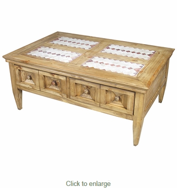 4 Drawer Rustic Pine Coffee Table With Southwest Tile Top