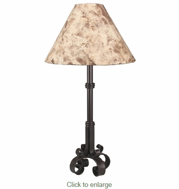 4 Footed Iron Lamp with Bark Paper Shade