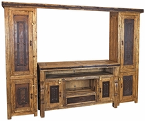 4-Piece Rustic Wood Entertainment Center with Iron Accents