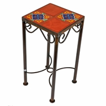 4 Tile Mexican Iron Side Table with Talavera Tile Top