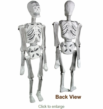 42 Inch Tall Day of the Dead Hanging Paper Mache Skeleton