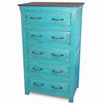 5 Drawer Turquoise Painted Wood Chest of Drawers