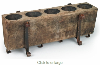 5 Hole Rustic Sugar Mold Candle Holder with Iron Base