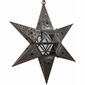 6 Point Hanging Star Light - Aged Tin & Glass