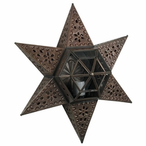 6 Point Tin and Glass Wall or Ceiling Star Fixture