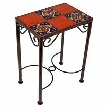 6 Tile Mexican Iron Side Table with Talavera Tile Top