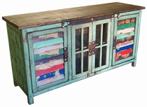 """60"""" Green Painted Wood TV Console with Multi-Color Slat Doors and Glass"""