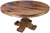 "60"" Round Mesquite Table with Scroll Pedestal Base"