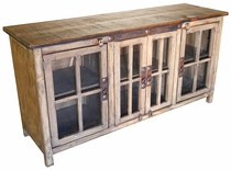 "60"" Rustic Wood Entertainment Console with Glass Doors"
